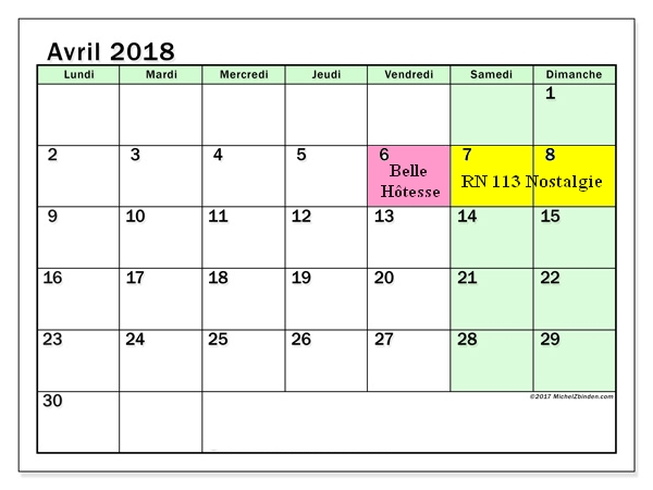 Calendrier avril 2018 60ld