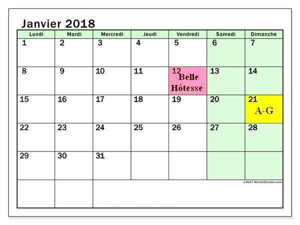 Calendrier janvier 2018 60ld